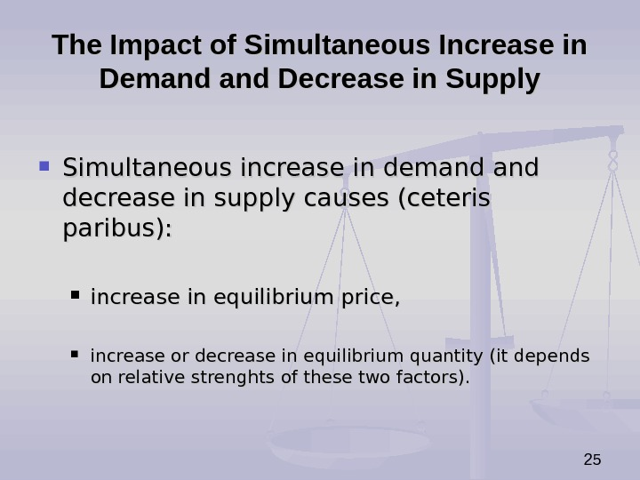 25 The Impact of Simultaneous Increase in Demand Decrease in Supply Simultaneous increase in