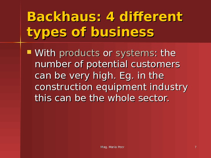 Mag. Maria Peer 77 Backhaus: 4 different types of business With products or or systems :