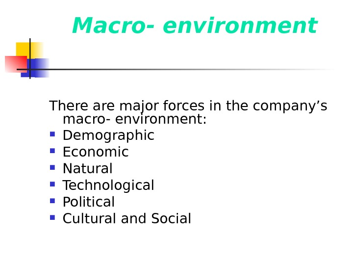 Macro- environment There are major forces in the company's macro- environment:  Demographic Economic Natural Technological