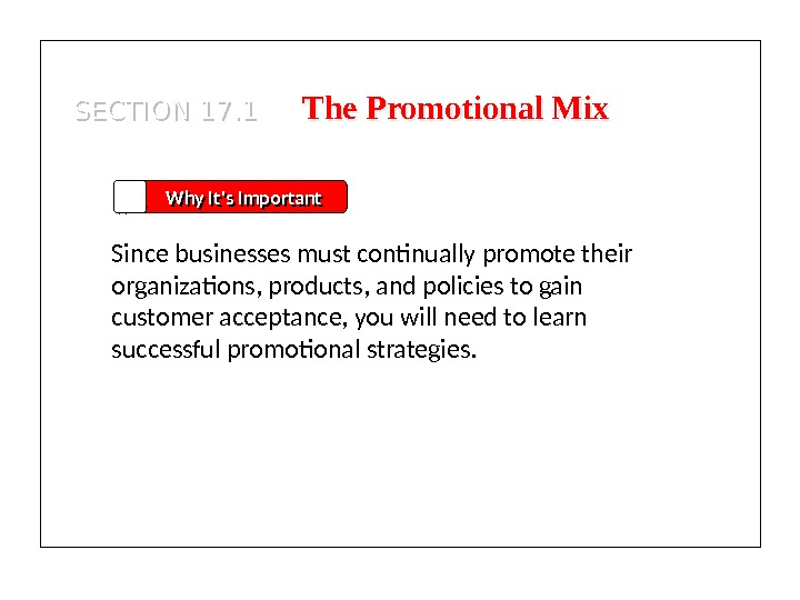 SECTION 17. 1 The Promotional Mix Why It's Important Since businesses must continually promote their organizations,