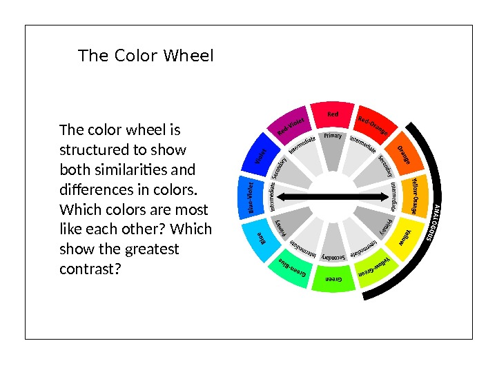 The Color Wheel The color wheel is structured to show both similarities and differences in colors.