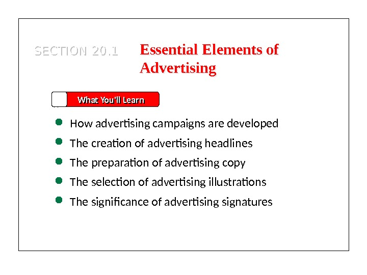 SECTION 20. 1 What You'll Learn How advertising campaigns are developed The creation of advertising headlines