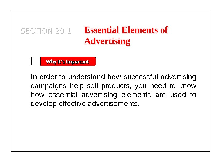 SECTION 20. 1 Why It's Important In order to understand how successful advertising campaigns help sell