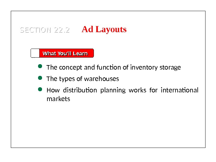 SECTION 22. 2 What You'll Learn The concept and function of inventory storage The types of