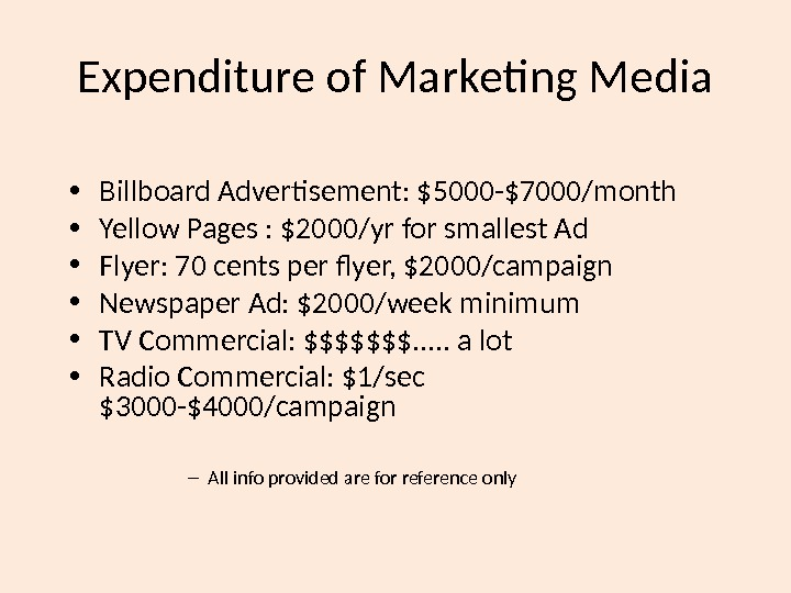 Expenditure of Marketing Media • Billboard Advertisement: $5000 -$7000/month • Yellow Pages : $2000/yr for smallest