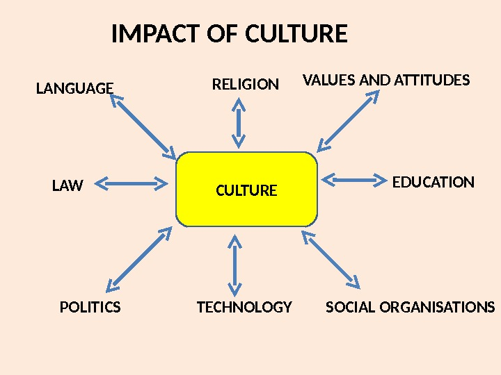 IMPACT OF CULTURELANGUAGE RELIGION VALUES AND ATTITUDES LAW EDUCATION POLITICS TECHNOLOGY SOCIAL ORGANISATIONS
