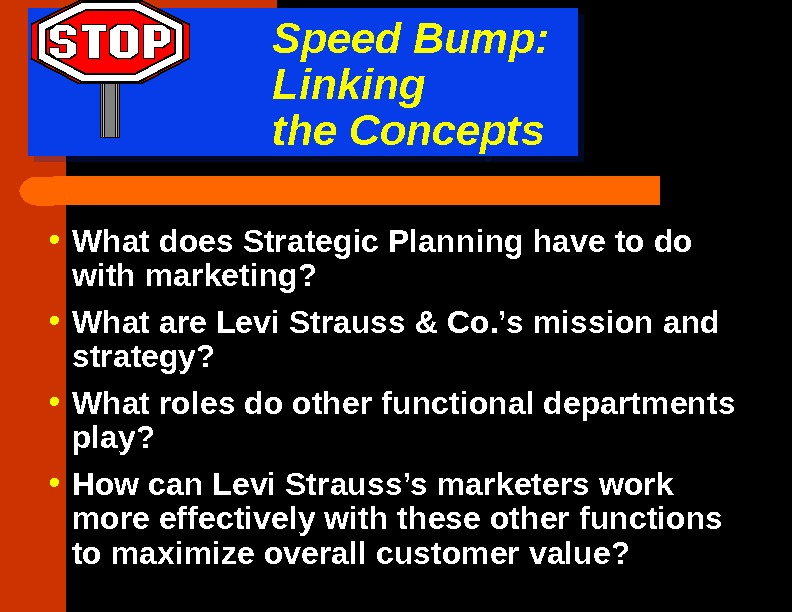 Speed Bump:  Linking the Concepts • What does Strategic Planning have to do with marketing?