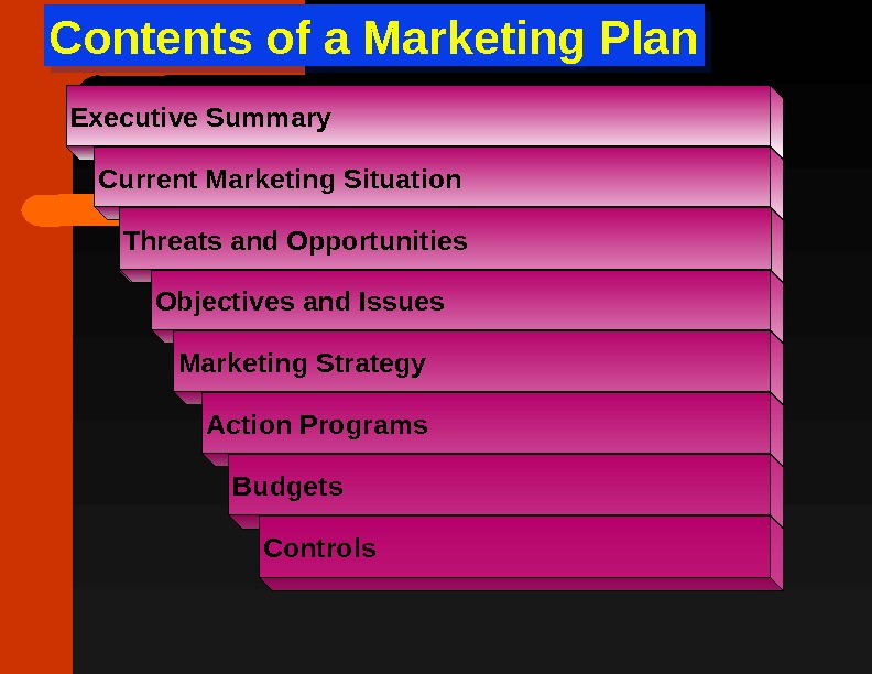 Contents of a Marketing Plan. Executive Summary Current Marketing Situation Threats and Opportunities Objectives and Issues