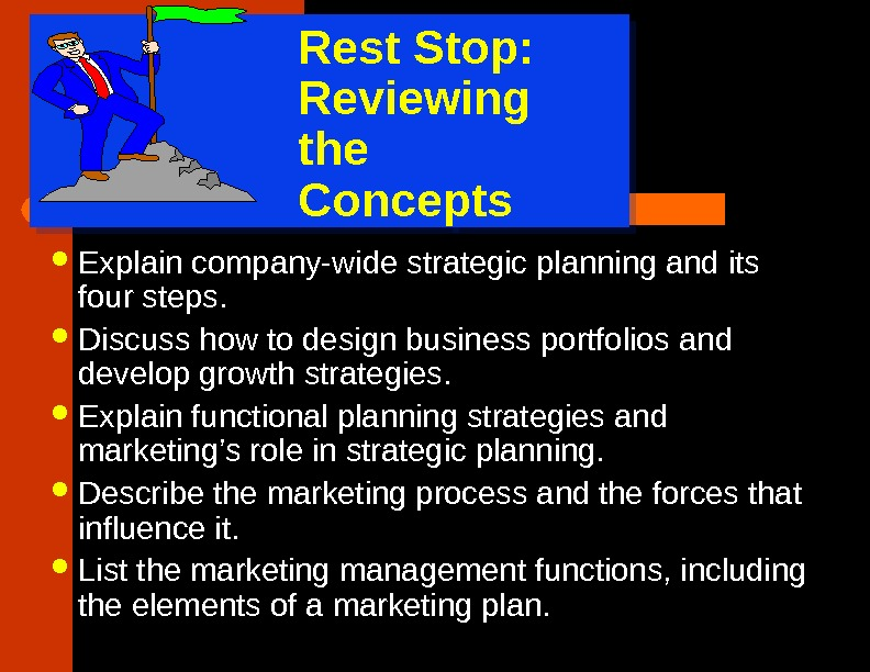 Rest Stop: Reviewing  the Concepts Explain company-wide strategic planning and its four steps.  Discuss