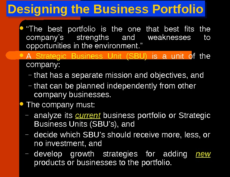 "Designing the Business Portfolio "" The best portfolio is the one that best fits the company's"