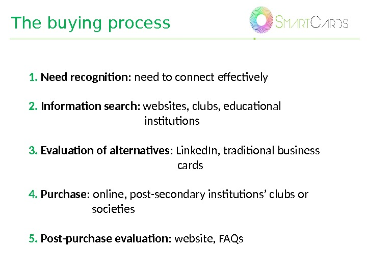The buying process 1.  Need recognition : need to connect effectively 2.  Information search