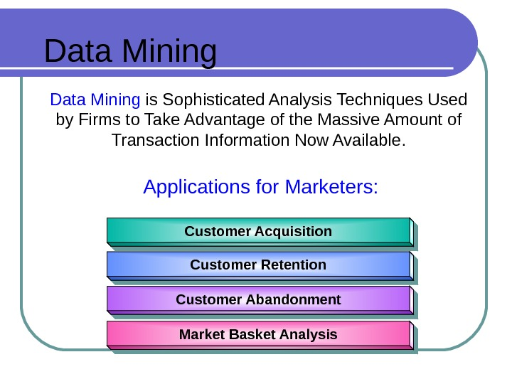 Data Mining  is Sophisticated Analysis Techniques Used by Firms to Take Advantage of the Massive