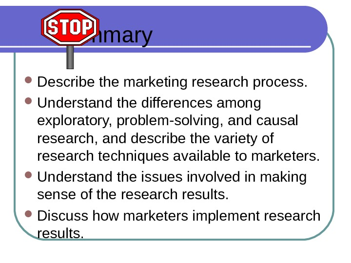 S ummary Describe the marketing research process.  Understand the differences among exploratory, problem-solving, and