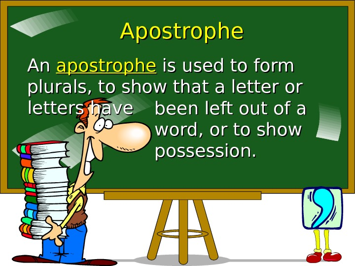 Apostrophe An An apostrophe is used to form plurals, to show that a letter