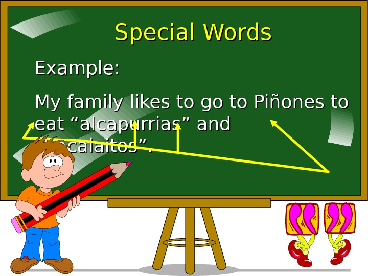 "Special Words Example: My family likes to go to Piñones to eat ""alcapurrias"" and"