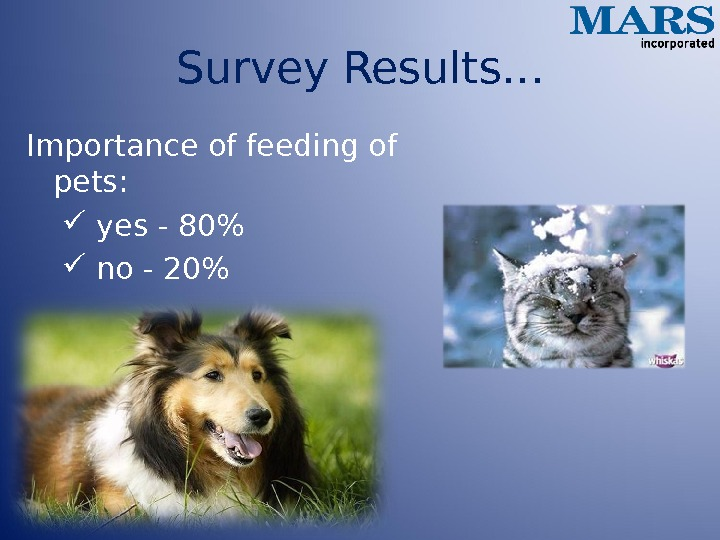 Survey Results… Importance of feeding of pets: yes - 80  no - 20