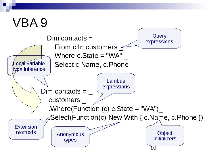 10 VBA 9 Dim contacts = From c In customers _ Where c. State =