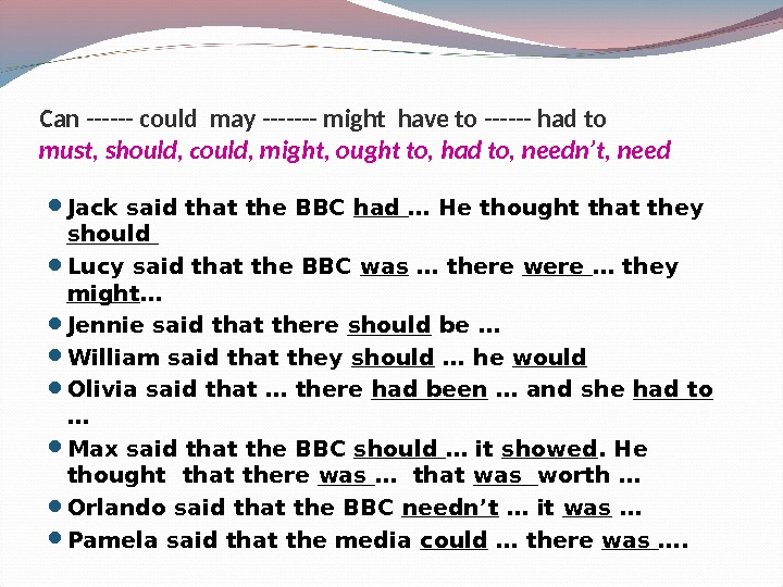 Jack said that the BBC had … He thought that they should  Lucy said