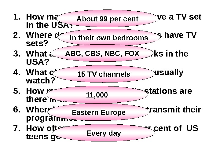 1. How many per cent of homes have a TV set in the USA? 2. Where