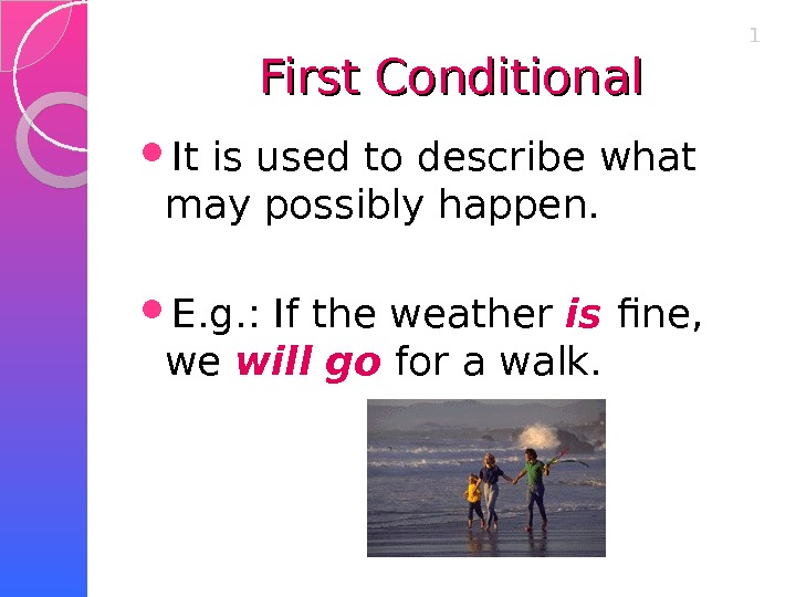 First Conditional It is used to describe what may possibly happen.  E. g. : If