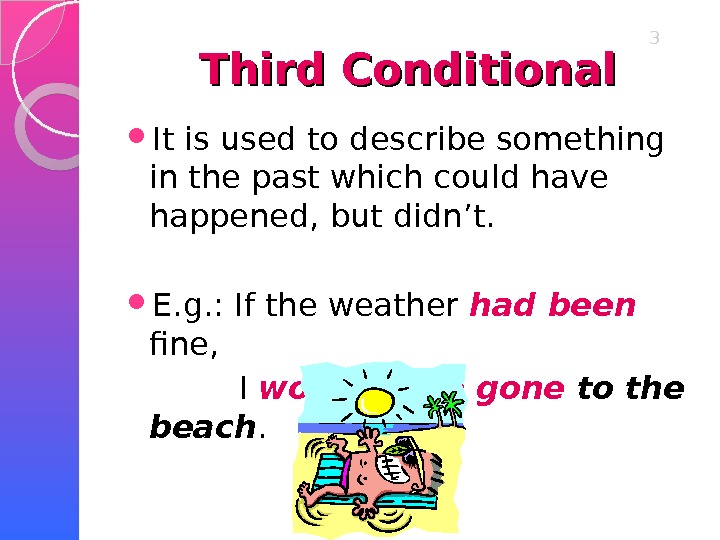 Third Conditional It is used to describe something in the past which could have happened, but