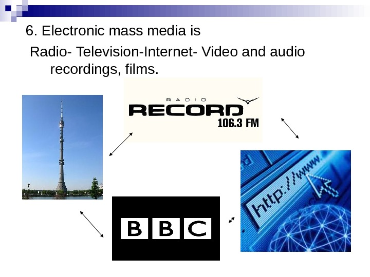 6. Electronic mass media is  Radio - Television - Internet - Video and