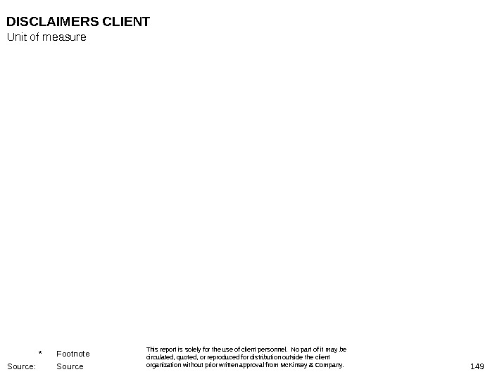 149 DISCLAIMERS CLIENT This report is solely for the use of client personnel.  No part