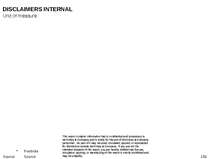 150 DISCLAIMERS INTERNAL This report contains information that is confidential and proprietary to Mc. Kinsey &