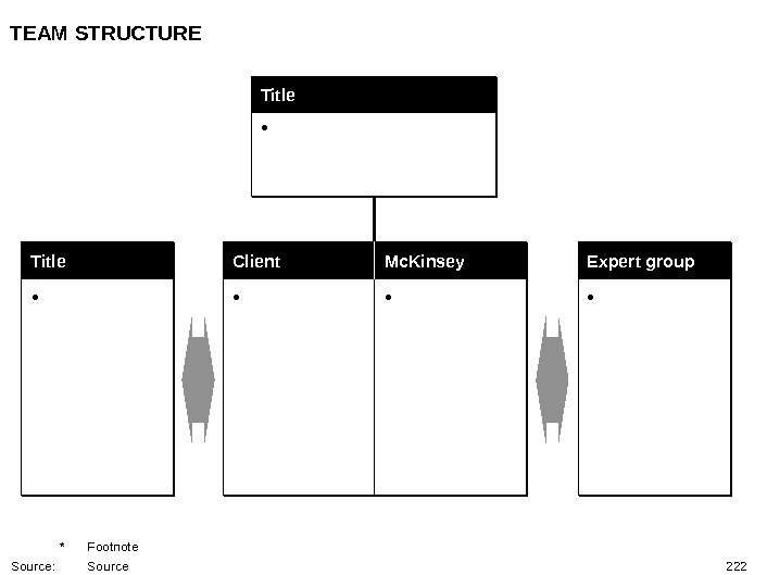 222 TEAM STRUCTURE * Footnote Source: Source Title •  Client Mc. Kinsey  • •