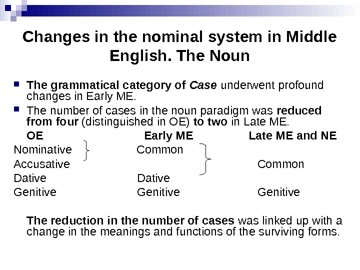 Changes in the nominal system in Middle English. The Noun The grammatical category of Case underwent