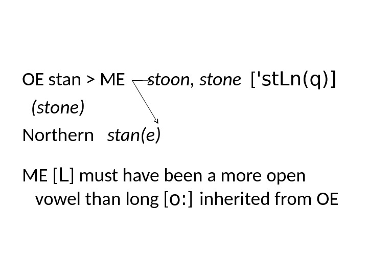 OE stan  ME stoon, stone  [ 'st. Ln(q)]  (stone)   Northern