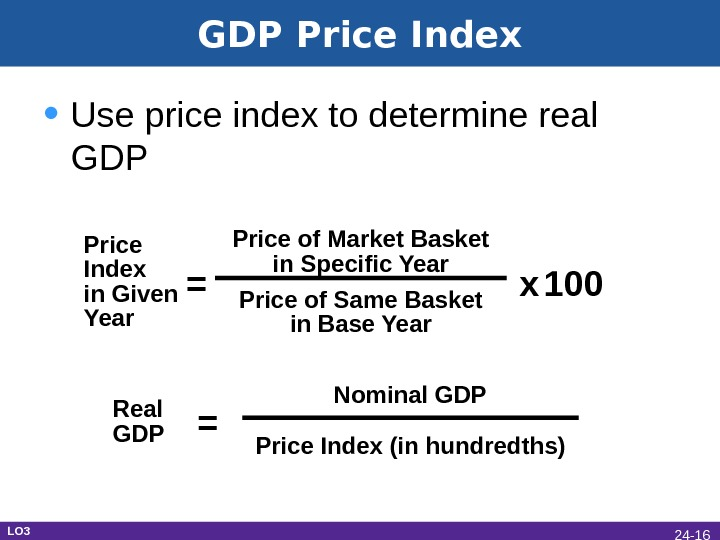 GDP Price Index • Use price index to determine real GDP Price Index in Given Year
