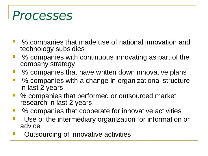 Processes   companies that made use of national innovation and technology subsidies