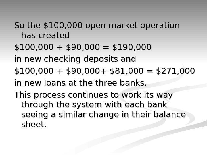 So the $100, 000 open market operation has created $100, 000 + $90, 000 = $190,