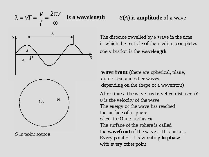 is a wavelength The distance travelled by a wave in the time in which