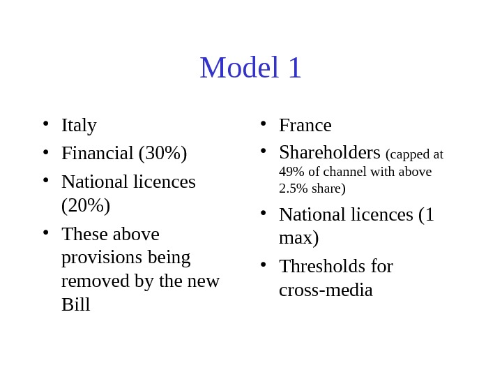 Model 1 • Italy • Financial (30) • National licences (20) • These above