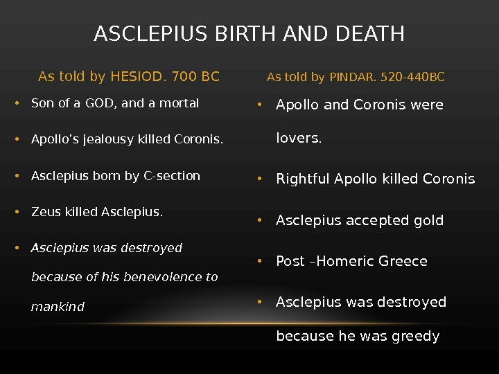 • Apollo and Coronis were lovers.  • Rightful Apollo killed Coronis  • Asclepius