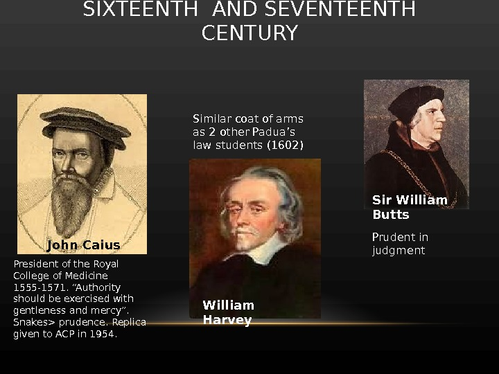 SIXTEENTH AND SEVENTEENTH CENTURY John Caius Sir William Butts William  Harvey. President of the Royal