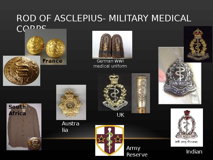 ROD OF ASCLEPIUS- MILITARY MEDICAL CORPS France German WWI medical uniform Indian UK Austra lia Army