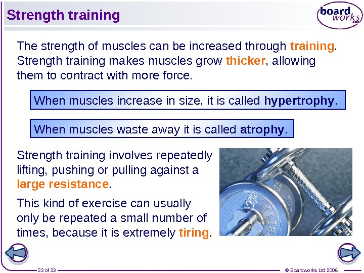 © Boardworks Ltd 200623 of 33 Strength training The strength of muscles can be increased through