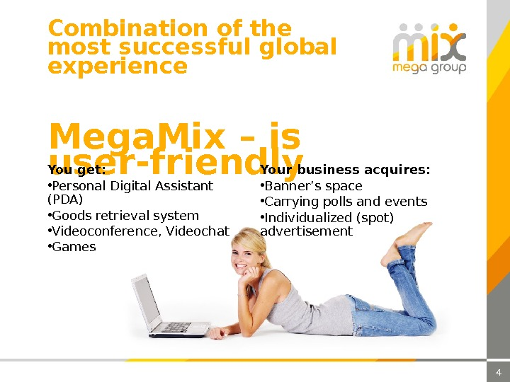 4 Mega. Mix – is user-friendly. You get:  • Personal Digital Assistant (PDA) • Goods