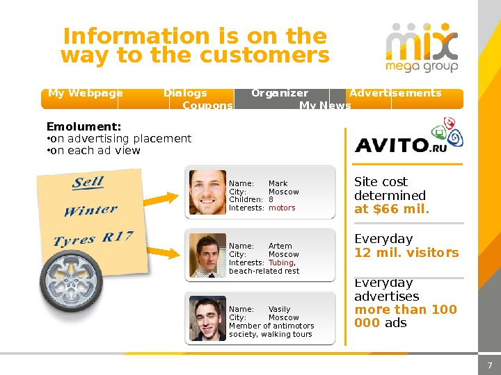 7 Information is on the way to the customers My Webpage  Dialogs  Organizer