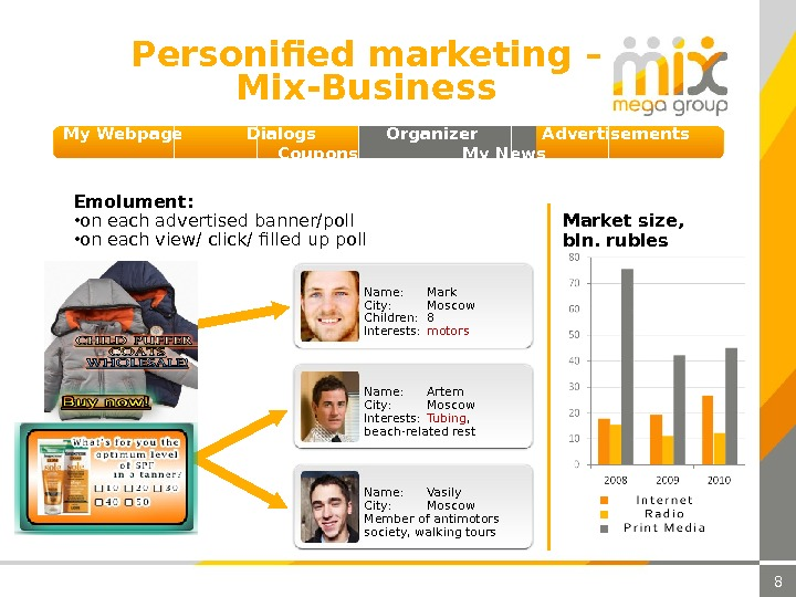 8 Personified marketing  – Mix-Business Emolument :  • on each advertised banner/poll • on