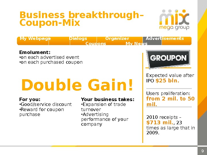 9 Business breakthrough – Coupon-Mix My Webpage  Dialogs  Organizer  Advertisements