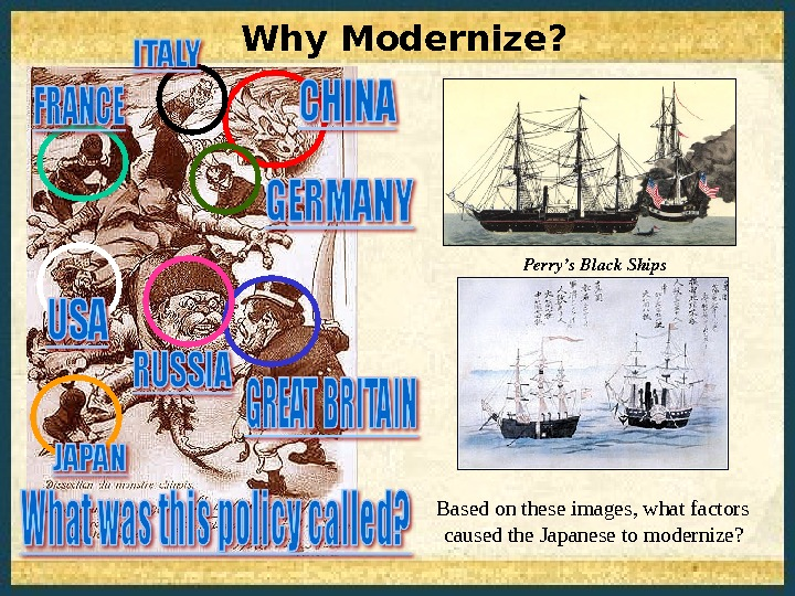 Why Modernize?  Based on these images, what factors caused the Japanese to modernize? Perry's. Black.