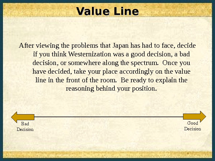 Value Line After viewing the problems that Japan has had to face, decide if you think