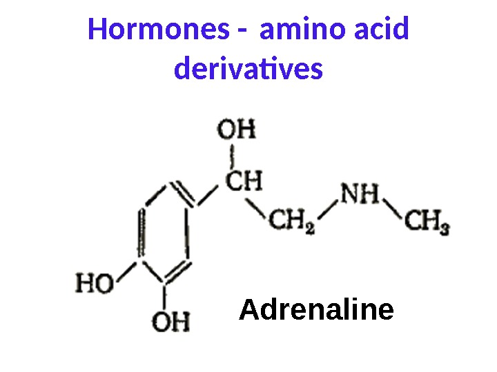 Hormones - amino acid derivatives Adrenaline