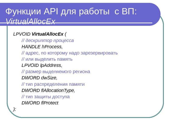 Функции API для работы с ВП :  Virtual. Alloc Ex LPVOID  Virtual. Alloc Ex