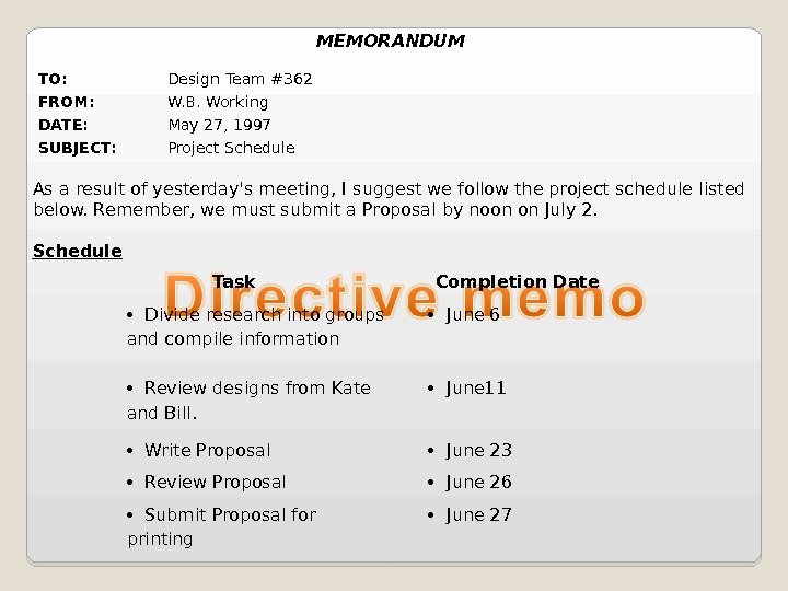 TO: Design Team #362 FROM: W. B. Working DATE: May 27, 1997 SUBJECT: Project Schedule Task