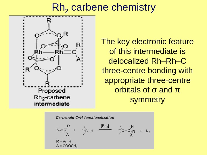 Rh 2 carbene chemistry The key electronic feature of this intermediate is delocalized Rh–Rh–C three-centre bonding